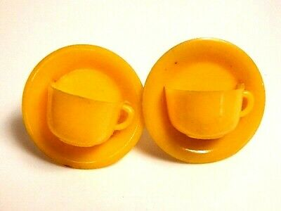 Vintage 1940s Mid Century Kitchen Plastic Cup & Saucer Curtain Pins Tie Backs