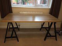 IKEA design your own desk / table, black trestles + oak effect top (L150xW75xH72cm)
