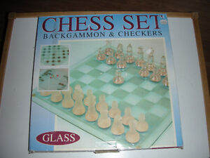 CHESS, BACKGAMMON and CHECKERS GLASS SET.