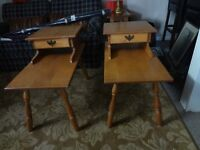 2 matching solid maple end tables