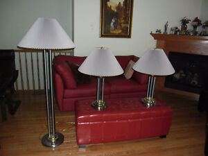 A trio of matching gold and silver metal lamps. Kingston Kingston Area image 2