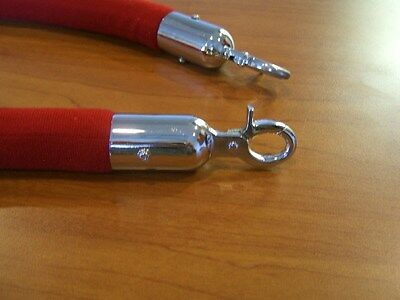 Stanchion Rope Velour Red With Pol Chrome Hks 5