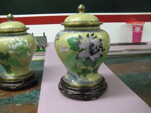 Beautiful Solid Brass porcelain painted planter or urn.