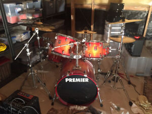 6 Piece Premier Drum Set W/ Stands. (Excl. Cymbals, Seat, Pedal)