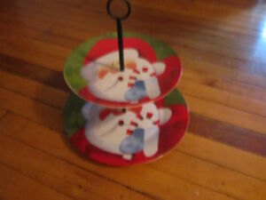 CHRISTMAS DECOR-NEW TWO TIER TRAY-CANDLE HOLDERS