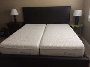 Leather King Size Bed Headboard/Frame, Box spring, and mattress