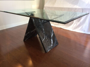 Modern Glass & Marble Dining Table