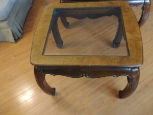 Beautiful Glass and wood Coffee Table Set for sale