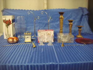 """Home Decor Lot """" Candle Holders,Clock,Bulb Trees, & More"""""""