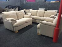 Cream fabric three piece suite 3 and 2 seater sofa plus armchair two brown beige