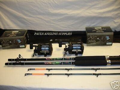 2 X BOAT RODS AND MULTIPLIER REEL sea fishing tackle