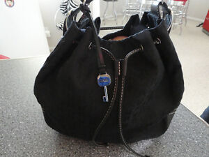 FOSSIL - Black fabric with Leather