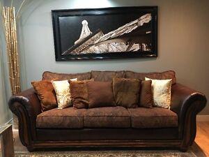 Stylish Sofa and Love Seat Alongwith Brown Cushions