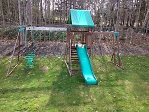 Swing set with monkey bars and slide