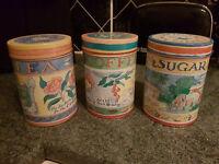 SET OF THREE CANNISTERS TEA COFFEE SUGAR