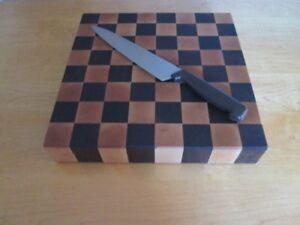 Bloc de boucher en bout de bois érable/noyer noir 14''x14''x2''