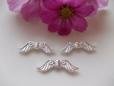 Rabatt-Großhandel-Engel Flügel-Perlen Spacer Bead Beads silber/light  24x7x3,5mm