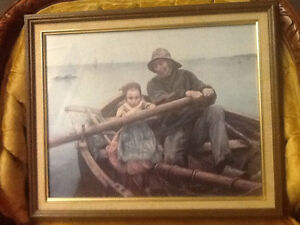 Framed sea  and fisherman picture   RENOUF 81