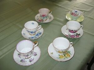 6 bone china cups and saucers, MADE IN ENGLAND