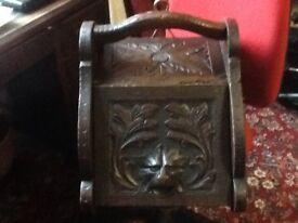 Victorian oak coal scuttle gothic revival.