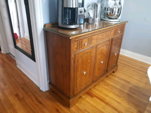 Antique dining room sideboard - solid wood - custom glass top