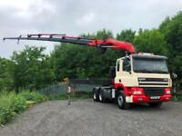 2004 04 DAF CF85.480 6x4 tractor unit FASSI F600XP 8 hyd extension remote crane