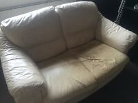 Great leather sofa suite with foot-stool