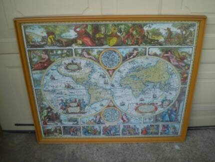 World map other home decor gumtree australia bassendean area large professionally framed old historical world map jigsaw gumiabroncs Gallery