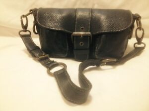 "Small Roots Canada ""Emily Princess"" Black Leather Shouder Bag"