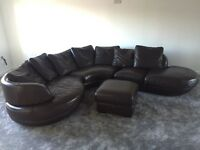 Brown corner sofa with matching foot stool