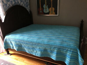 Solid wood queen bed frame