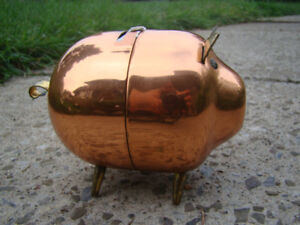 Vintage Solid Copper Piggybank
