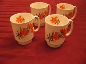 Four Royal Windsor Prairie Lily Mugs (without gold trim) - $30