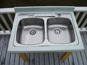 double sink in counter top with legs