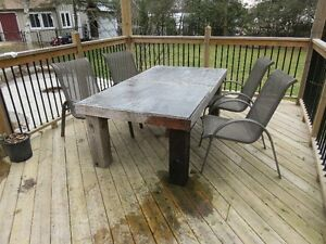 Rustic outdoor table with flagstone table top