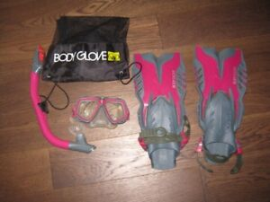 snorkel, flippers and mask