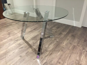 Modern Round Glass Table with Chrome Legs made by Sunpan