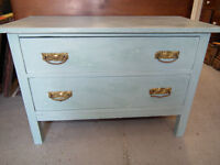 ANTIQUE LIGHT AQUA SHABBY CHIC DRESSER
