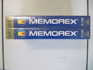Classic 2pc Lot Of Memorex SHQ T120 Blank VHS Tapes Sealed 1990s