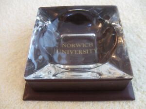 CLASSY NORWICH UNIVERSITY ASH TRAY in LEATHER BOUND STAND