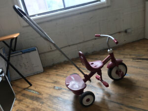 Tricycle.  Radio Flyer Tricycle- romavable pushing handle.