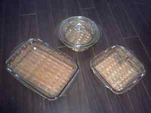 3 piece Glass cookware ( with serving trays)