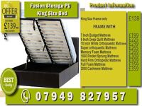 New DOUBLE , SINGLE , SMALL DOUBLE , KINGSIZE LEATHER STORAGE Bed WITH Mattress