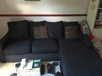 Black chaise 3 seater sofa