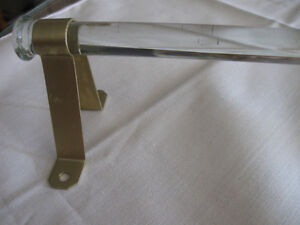 OLD VINTAGE SINGLE-GLASS-ROD TOWEL RACK with METAL END-BRACKETS