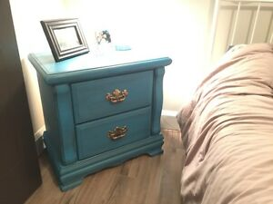 Distressed teal night table