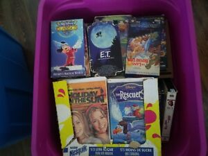 tote full of assorted VHS movies