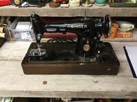 Pair Of Old Electric/Manual Cased Singer Sewing Machines