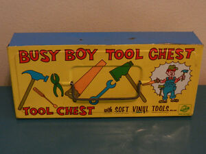 Vintage Tin Box Busy Boy Tool Chest  with Soft Vinyl Tools Set