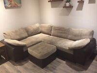 Corner sofa bed with storage and stool
